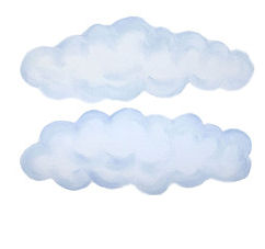 Set 2 Puffy White Peel and Stick Clouds - Wall Sticker Outlet