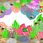 Coral Reef Peel and Stick Mural Border
