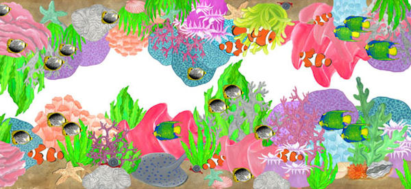 Coral Reef Peel and Stick Mural Border - Wall Sticker Outlet