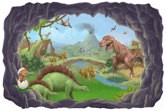 30 . Kids Room Dinosaur Wall Mural