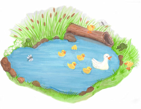 Create a mural duck pond wall sticker for Duck pond mural