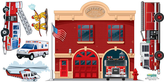 Create a Mural Fire Station Wall Sticker - Wall Sticker Outlet