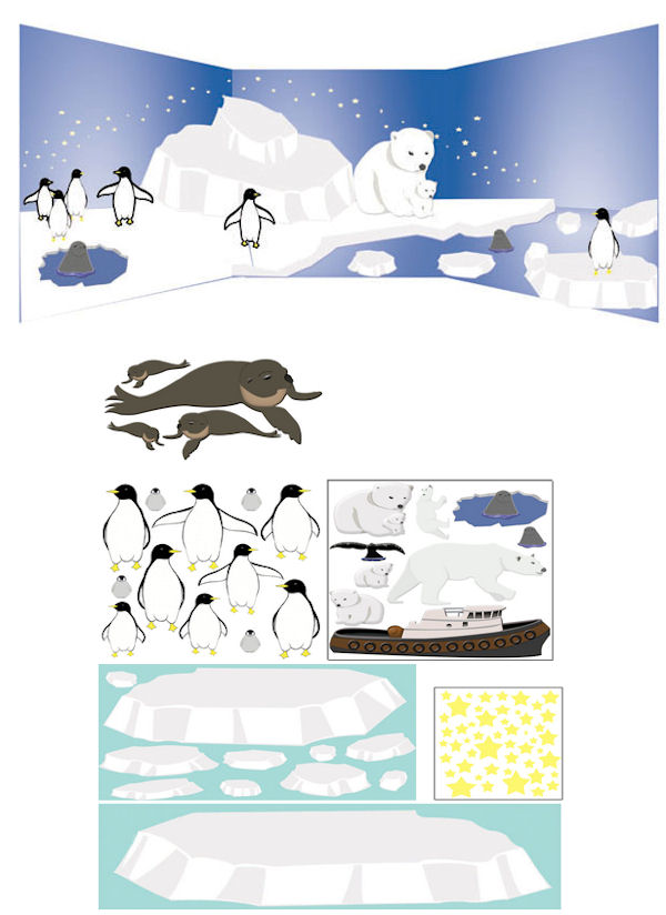 Polar Region Large Peel and Stick Mural - Wall Sticker Outlet