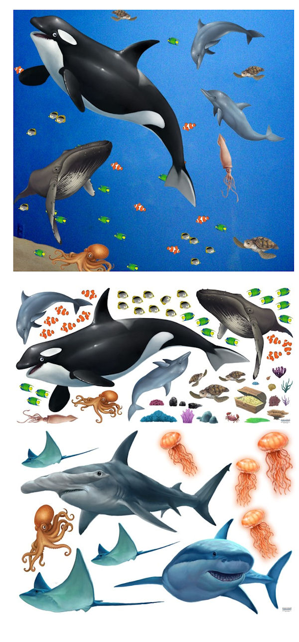 Sea Life Peel and Stick Large Ocean Mural - Wall Sticker Outlet
