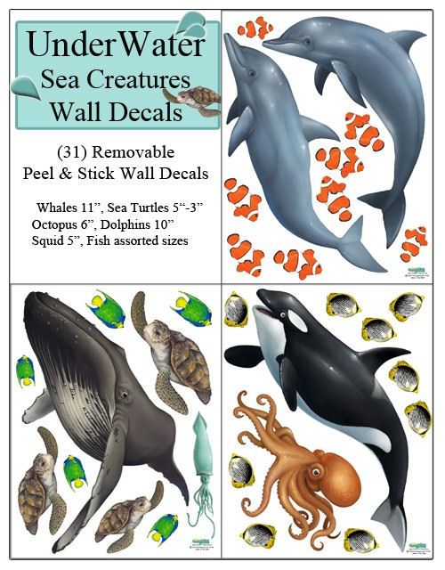 Underwater Sea Creatures Wall Decals - Wall Sticker Outlet