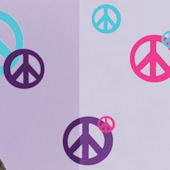 Peace Sign Teal Purple and Hot Pink  Wall Decals