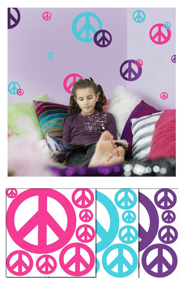 Peace Sign Teal Purple and Hot Pink  Wall Decals - Wall Sticker Outlet