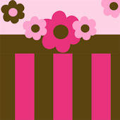 Pink and Brown Flowers and Stripes Stickers