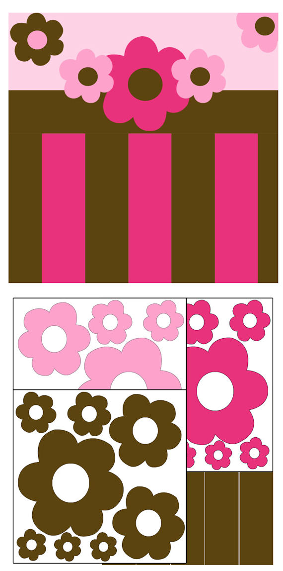 Pink and Brown Flowers and Stripes Stickers - Kids Wall Decor Store