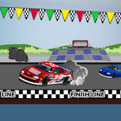 Racecar Speedway Peel and Stick Wall Mural