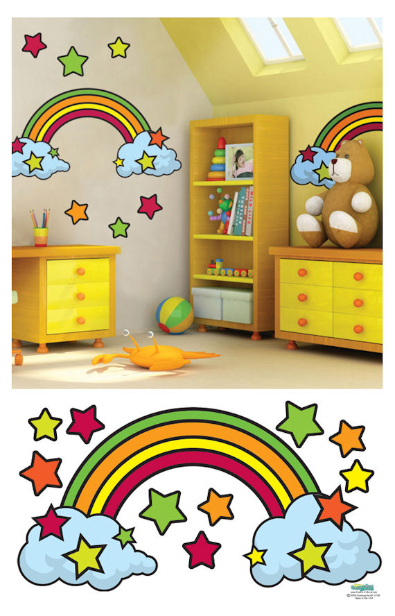 Retro Rainbow Peel and Stick Decal - Wall Sticker Outlet