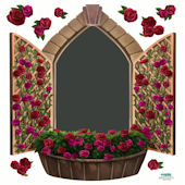 Rose Window Chalkboard Wall Sticker
