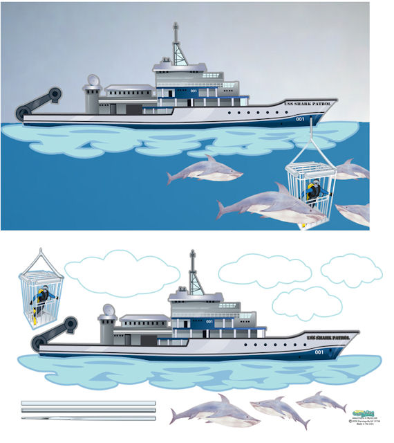 Create a mural shark ship divers wall sticker for Diving and fishing mural