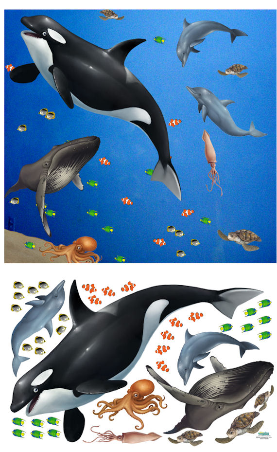 Sea Life Peel and Stick Ocean Mural - Wall Sticker Outlet