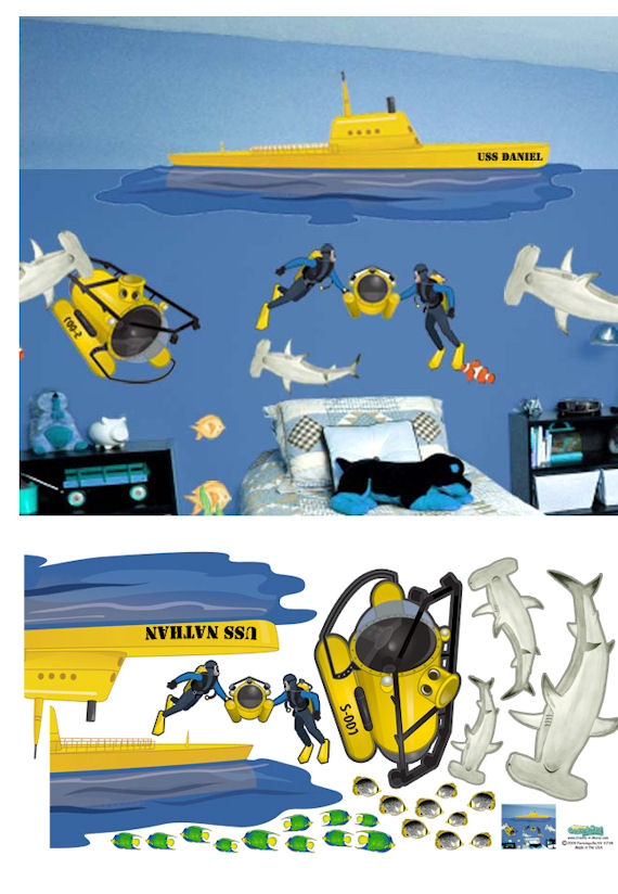 Submarine Peel and Stick Wall Mural - Wall Sticker Outlet