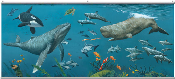 Deep Sea Whales Minute Mural - Wall Sticker Outlet