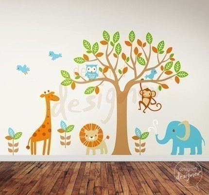 Safari playland nursery wall sticker mural for Baby jungle safari wall mural