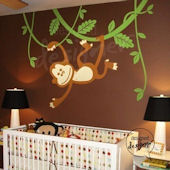 Monkey Swinging On Vines Wall Sticker Mural