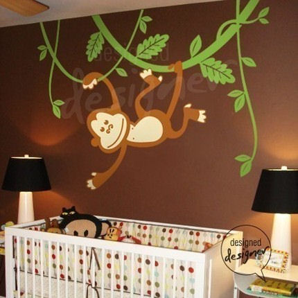 monkey swinging on vines wall sticker mural. Black Bedroom Furniture Sets. Home Design Ideas