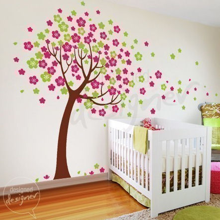 trailing cherry blossom tree wall sticker mural forest wall decals tree and birds wall mural nursery wall