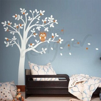hooting owl on woodland tree wall sticker mural