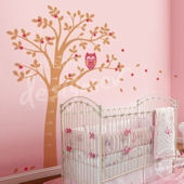 Hooting Owl on Woodland Tree Pink Wall Decal