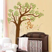 Monkey Having Fun on Tree Wall Sticker Mural
