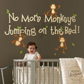 No More Monkeys Jumping Wall Sticker Mural