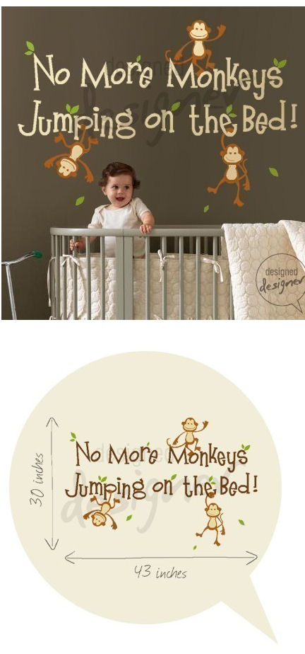 No More Monkeys Jumping Wall Sticker Mural - Wall Sticker Outlet