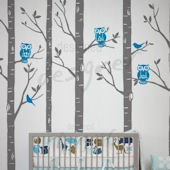 Wild Birch Forest with Owl Wall Decal