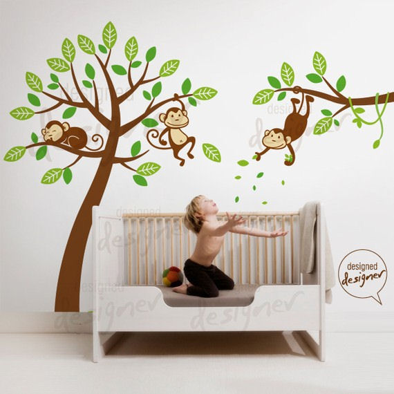 monkey wall decals 2017 grasscloth wallpaper. Black Bedroom Furniture Sets. Home Design Ideas