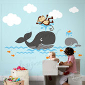 Monkey and Whale in Ocean Wall Decal