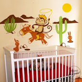 Cowboy Monkey in Desert Wall Decal SPECIAL SALE