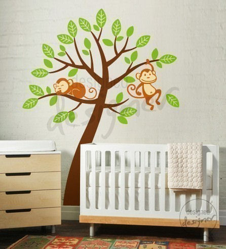 ... Monkeys Having Fun on Tree Wall Sticker Mural - Wall Sticker Outlet