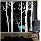 Winter Birch Trees with Deer and Bird Wall Decal