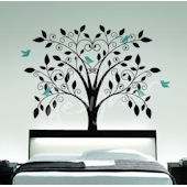 Ornate Tree with Little Birds Wall Decal SALE