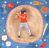 Baseball Star Boy Wall Canvas Art