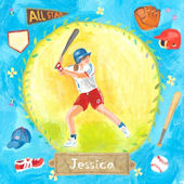Baseball Star Girl Personalized Canvas Wall Art