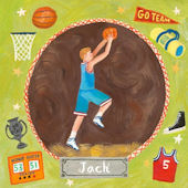 Basketball Star Boy Personalized Canvas Art