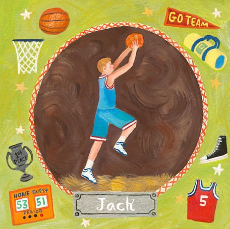Basketball Star Boy Personalized Canvas Art - Wall Sticker Outlet