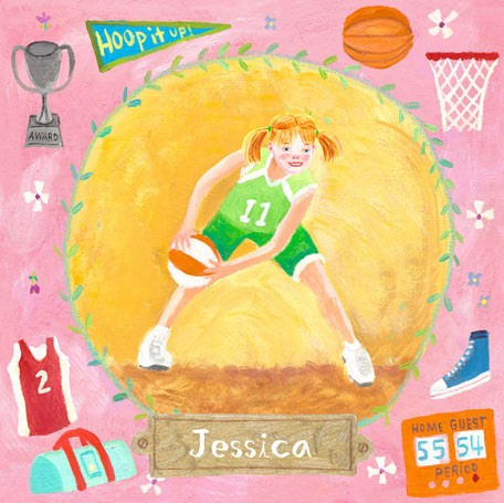 Basketball Star Girl Personalized Canvas Art - Wall Sticker Outlet