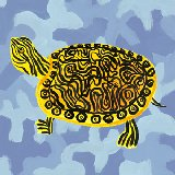 Blue Camo Turtle Wall Canvas Art
