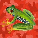 Red Camo Frog Canvas Wall Art
