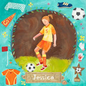 Soccer Star Girl Wall Canvas Art