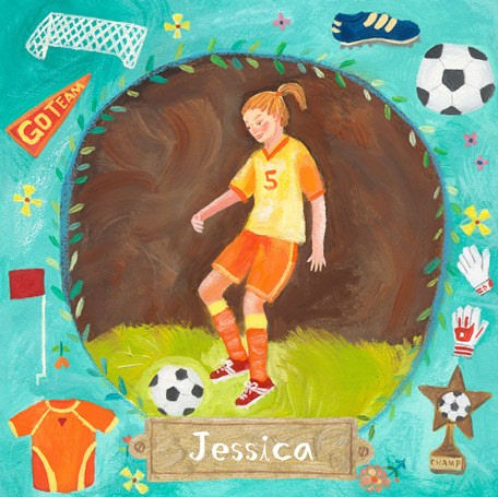 Soccer Star Girl Personalized Canvas Wall Art - Wall Sticker Outlet