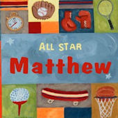 Sports All Star Boy Personalized Canvas Wall Art