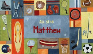 Sports All Star Boy Personalized Canvas Wall Art - Wall Sticker Outlet