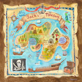 Treasure Map Personalized Canvas Wall Art