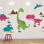 Dinosaur Giant Wall Decals Color Scheme B