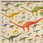 Dinosaurs Flying Lizards Sea Creature Cream Mural